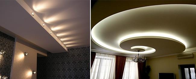 натяжными с потолками фото освещение комнат